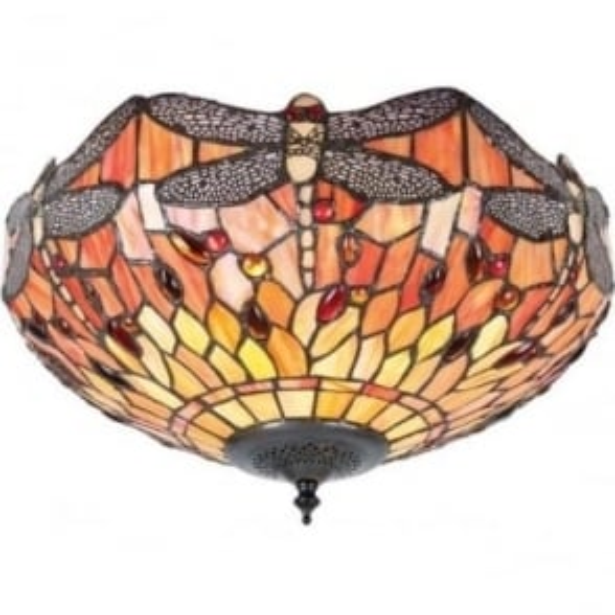 Tiffany Glass Dragonfly flame medium 2 light flush fitting