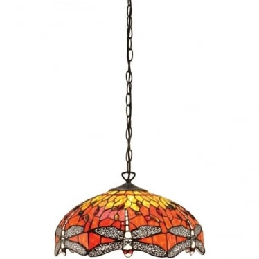 Tiffany Glass Dragonfly flame medium 3 light pendant