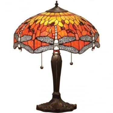 Tiffany Glass Dragonfly flame medium table lamp