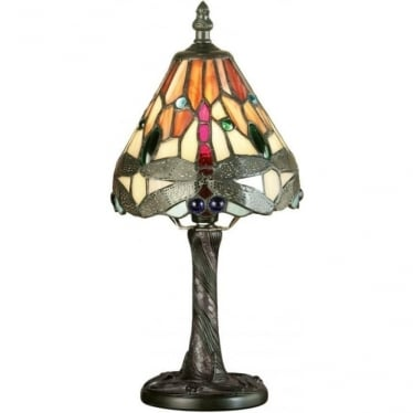 Tiffany Glass Dragonfly flame mini table lamp
