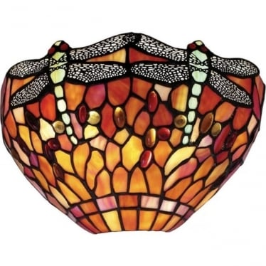 Tiffany Glass Dragonfly flame single wall fitting