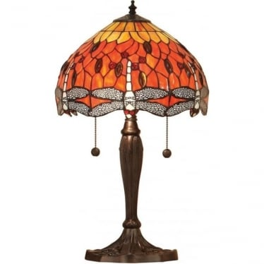 Tiffany Glass Dragonfly flame small table lamp