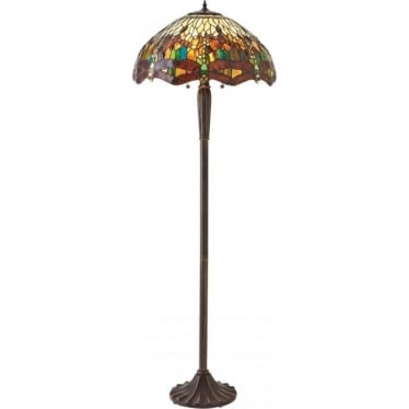 Tiffany Glass Dragonfly green floor lamp