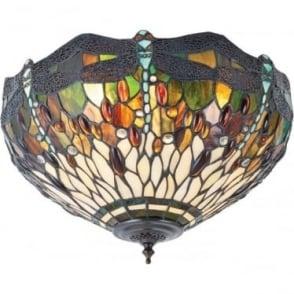 Tiffany Glass Dragonfly green medium 2 light flush fitting
