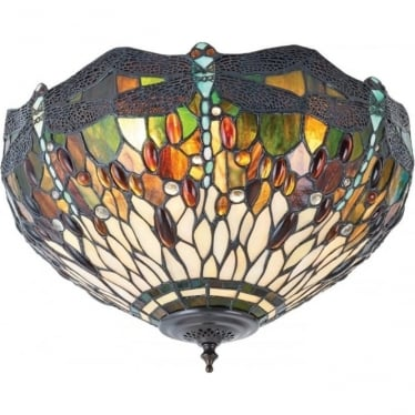 Tiffany Glass Dragonfly green medium 2 light flush fitting