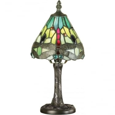Tiffany Glass Dragonfly green mini table lamp