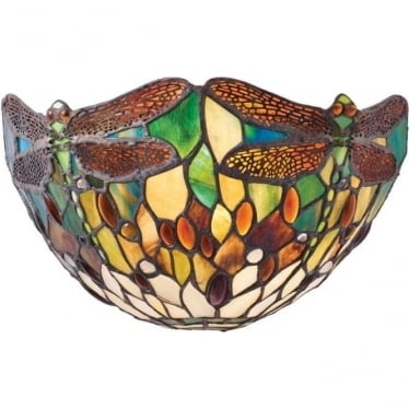 Tiffany Glass Dragonfly green single wall fitting
