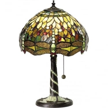 Tiffany Glass Dragonfly green small table lamp