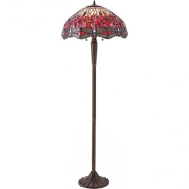 Tiffany Glass Dragonfly red floor lamp