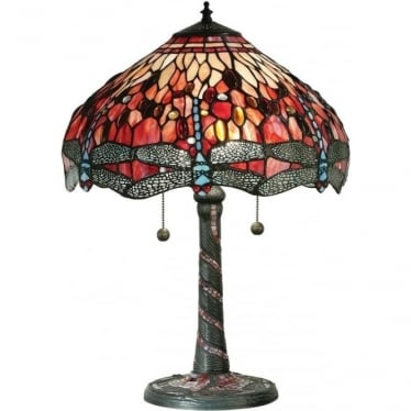 Tiffany Glass Dragonfly red medium table lamp