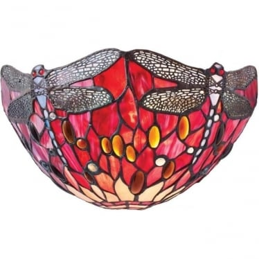 Tiffany Glass Dragonfly red single wall fitting