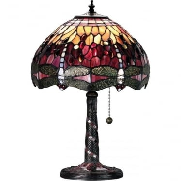 Tiffany Glass Dragonfly red small table lamp