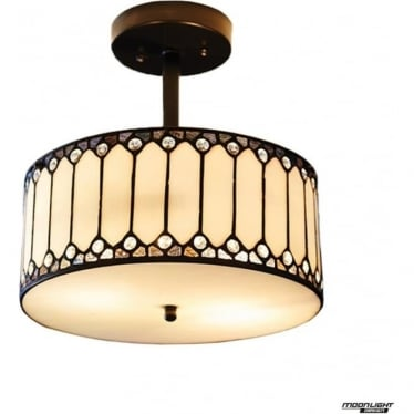 Tiffany Glass Fargo 2 light semi flush fitting