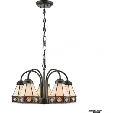Tiffany Glass Fargo 5 light downlight pendant