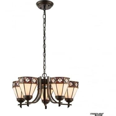 Tiffany Glass Fargo 5 light up light pendant