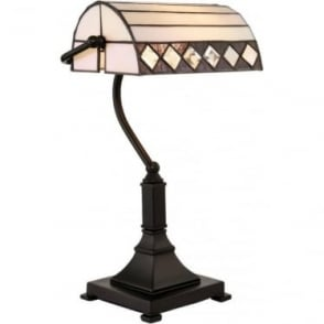 Tiffany Glass Fargo Bankers Table Lamp