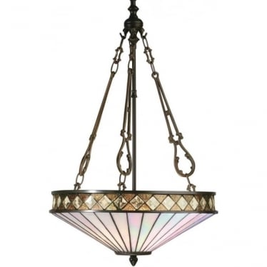 Tiffany Glass Fargo medium inverted 3 light pendant