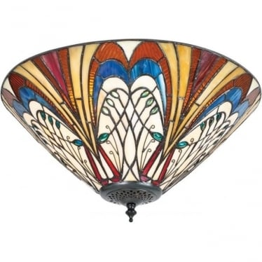 Tiffany Glass Hector medium 2 light flush fitting
