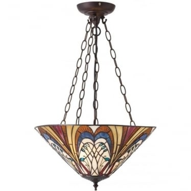 Tiffany Glass Hector medium inverted 3 light pendant