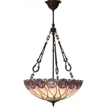 Tiffany Glass Hutchinson large inverted 3 light pendant