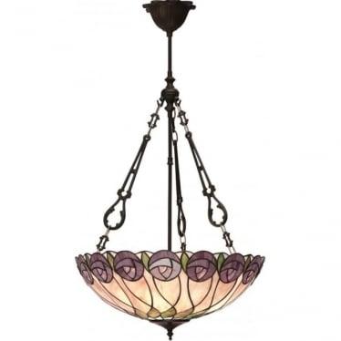 Tiffany Glass Hutchinson large inverted 3 light pendant