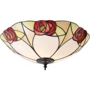 Tiffany Glass Ingram large 2 light flush fitting