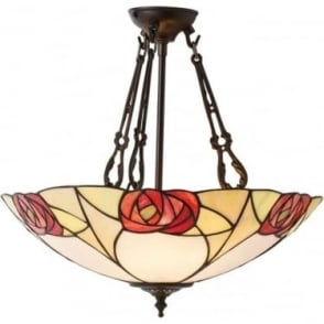 Tiffany Glass Ingram large inverted 3 light pendant