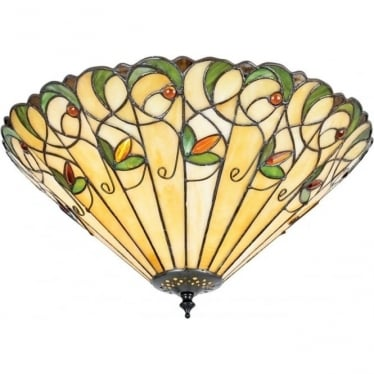 Tiffany Glass Jamelia large 2 light flush fitting