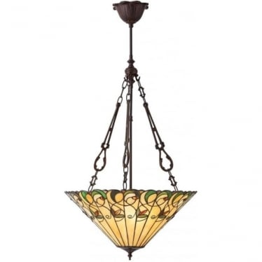 Tiffany Glass Jamelia large inverted 3 light pendant