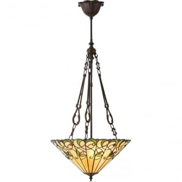 Tiffany Glass Jamelia medium inverted 3 light pendant
