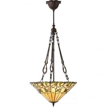 Tiffany Glass Jamelia medium inverted 3 light pendant