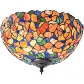 Tiffany Glass Josette medium 2 light flush fitting