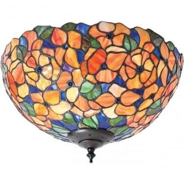 Tiffany Glass Josette medium 2 light flush fitting