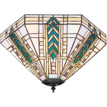 Tiffany Glass Lloyd medium 2 light flush fitting