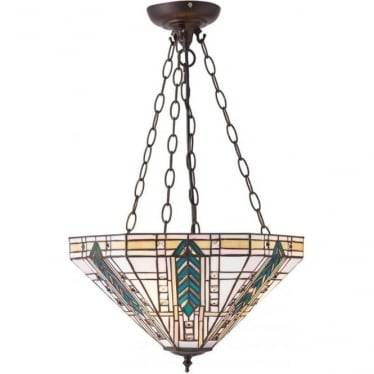 Tiffany Glass Lloyd medium inverted 3 light pendant