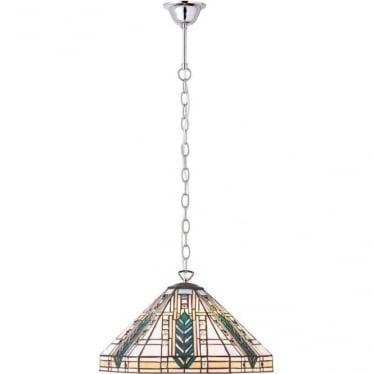 Tiffany Glass Lloyd medium single light pendant - Chrome