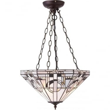 Tiffany Glass Metropolitan inverted 3 light pendant