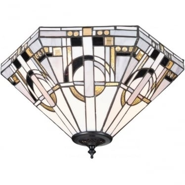 Tiffany Glass Metropolitan medium 2 light flush fitting