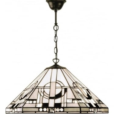 Tiffany Glass Metropolitan medium single light pendant  - Bronze