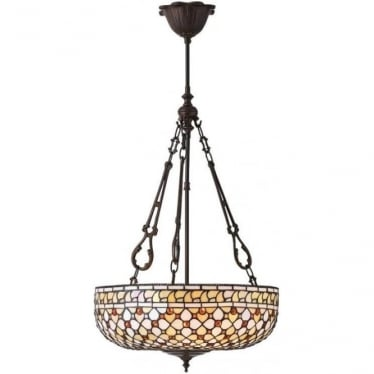 Tiffany Glass Mille Feux large inverted 3 light pendant