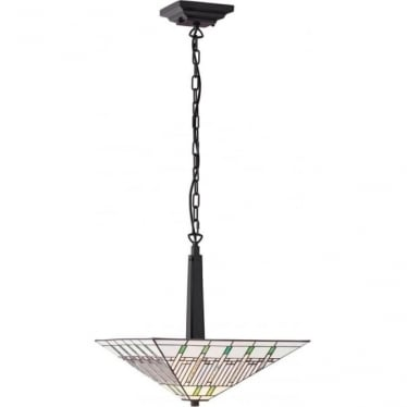 Tiffany Glass Mission inverted 2 light pendant
