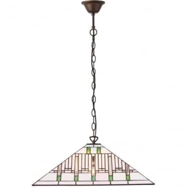 Tiffany Glass Mission large 3 light pendant