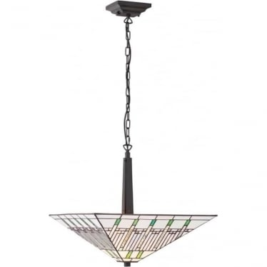 Tiffany Glass Mission large inverted 2 light pendant