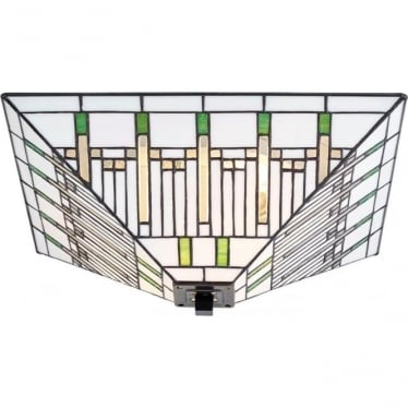Tiffany Glass Mission medium 2 light flush fitting
