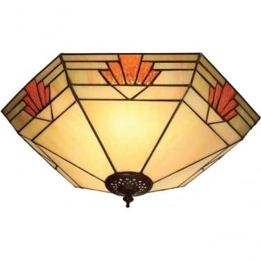 Tiffany Glass Nevada Large 2 Light Flush Fitting