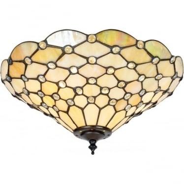 Tiffany Glass Pearl medium 2 light flush fitting