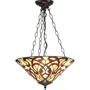 Tiffany Glass Ruban medium inverted 3 light pendant