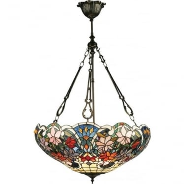 Tiffany Glass Sullivan large inverted 3 light pendant