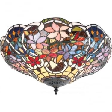 Tiffany Glass Sullivan medium 2 light flush fitting