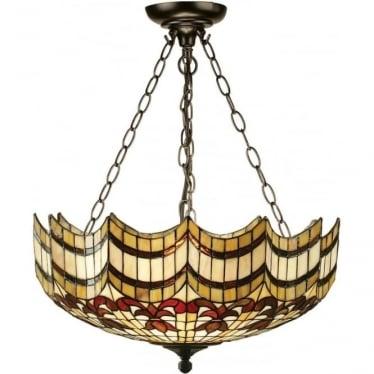 Tiffany Glass Vesta large inverted 3 light pendant